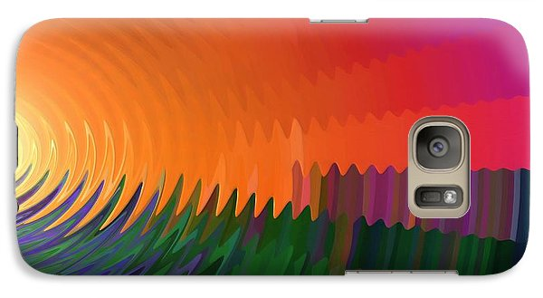 Galaxy Case featuring the painting The Sun Drops Into The Horizon by Pet Serrano