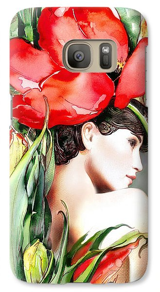 Galaxy Case featuring the painting The Tulip by Anna Ewa Miarczynska
