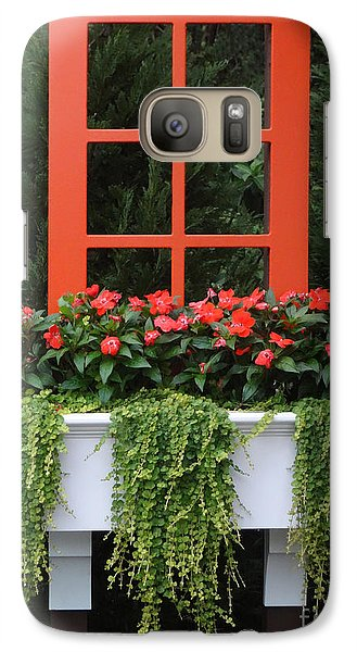 Galaxy Case featuring the photograph The Unexpected Red Window by Ginny Gaura