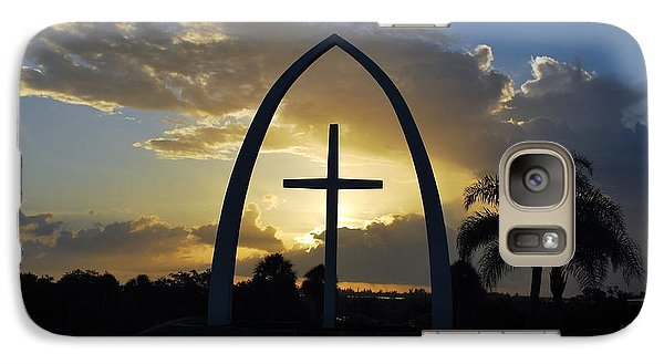Galaxy Case featuring the photograph The Universal Cross At Sunrise by Bob Sample