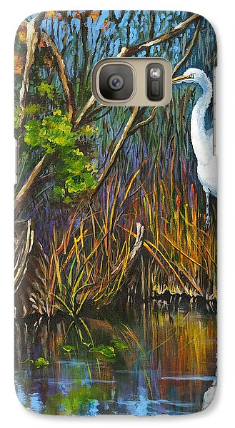 Galaxy Case featuring the painting The White Heron by Dianne Parks