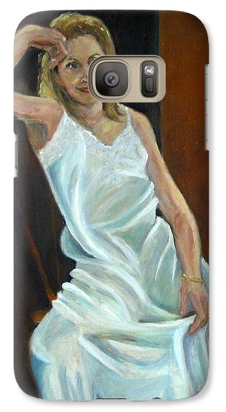 Galaxy Case featuring the painting The White Slip by Sally Simon