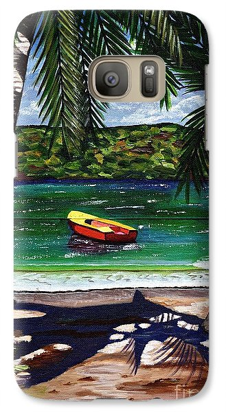 Galaxy Case featuring the painting The Yellow And Red Boat by Laura Forde