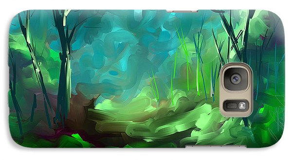 Galaxy Case featuring the painting Then There Was Green by Steven Lebron Langston