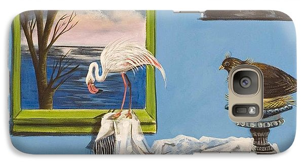 Galaxy Case featuring the painting They Say I See Flamingos by Susan Culver