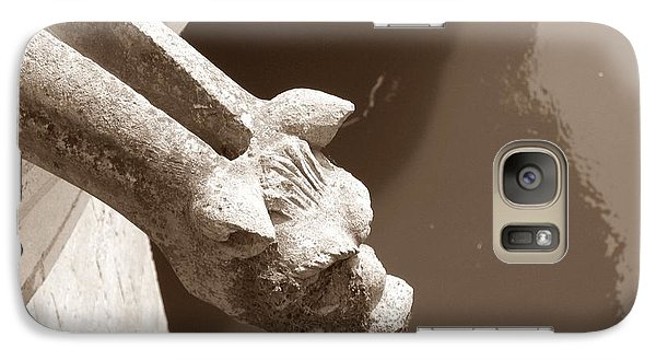 Galaxy Case featuring the photograph Thirsty Gargoyle - Sepia by HEVi FineArt