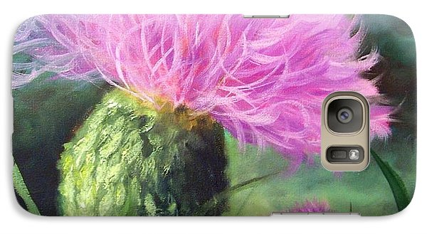 Galaxy Case featuring the painting Thistle by Cheri Wollenberg