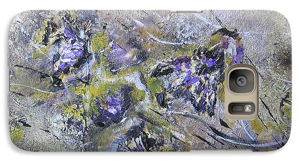 Galaxy Case featuring the painting Thistles In The Mist by Lucy Matta