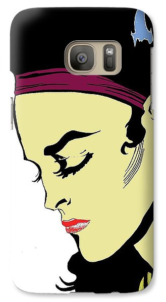 Galaxy Case featuring the drawing Thoughtful Woman 2 by Yngve Alexandersson