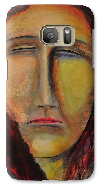 Galaxy Case featuring the painting Thoughts Inside Her Season Of Rainfall by Kicking Bear  Productions