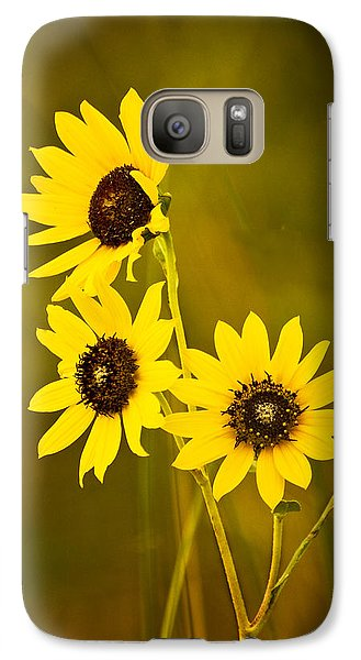 Galaxy Case featuring the photograph A Trio Of Black Eyed Susans by Gary Slawsky