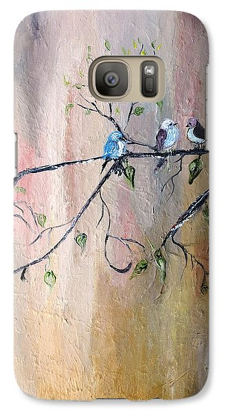 Galaxy Case featuring the painting Three Birds by Evelina Popilian