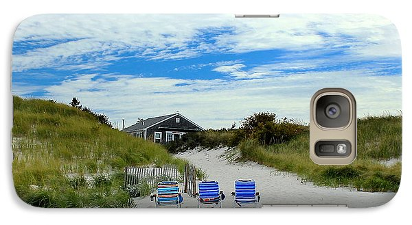 Galaxy Case featuring the photograph Three Blue Beach Chairs by Amazing Jules