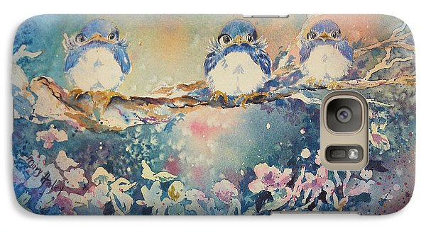 Galaxy Case featuring the painting Three Blue Birds by Mary Haley-Rocks