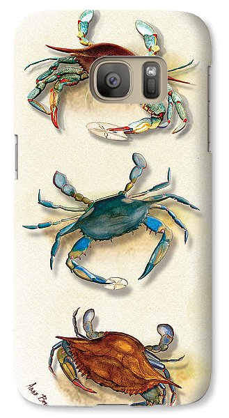 Galaxy Case featuring the painting Three Blue Crabs by Anne Beverley-Stamps