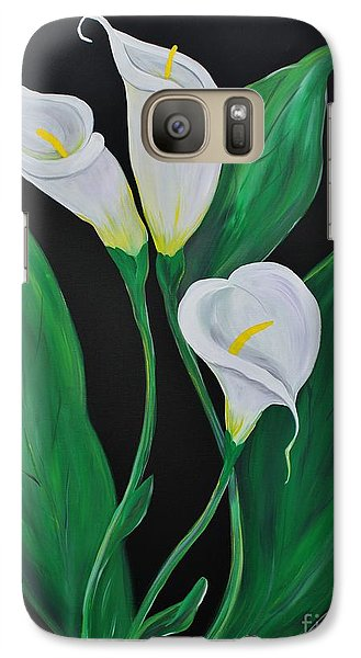 Galaxy Case featuring the painting Three Calla Lilies On Black by Janice Rae Pariza