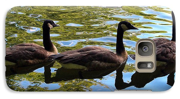 Galaxy Case featuring the photograph Three Canadian Geese by Deborah Fay