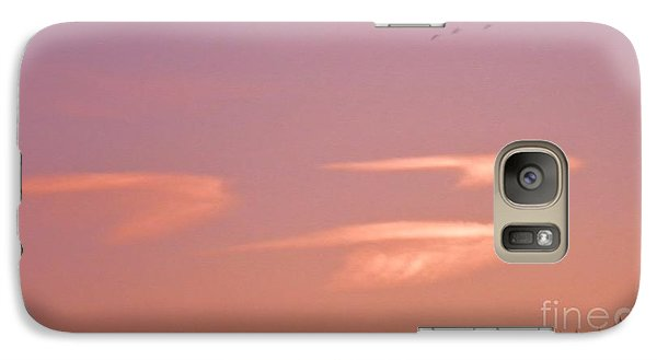 Galaxy Case featuring the photograph Three Clouds Three Geese by Suzanne McKay