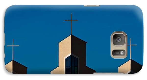 Galaxy Case featuring the photograph Three Crosses Of Livingway Church  by Ed Gleichman
