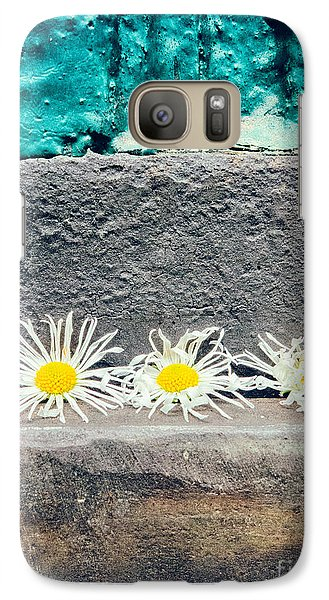 Galaxy Case featuring the photograph Three Daisies Stuck In A Door by Silvia Ganora