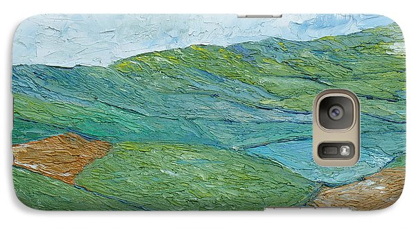 Galaxy Case featuring the painting Three Fields Of Barley by Conor Murphy