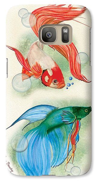 Galaxy Case featuring the painting Three Fish by Anne Beverley-Stamps