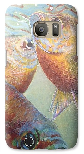 Galaxy Case featuring the painting Three Fish by Jan Swaren