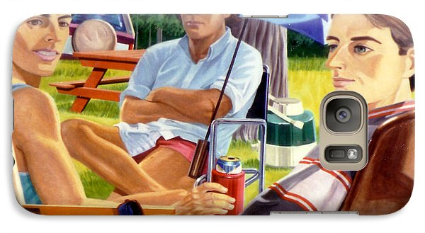 Galaxy Case featuring the painting Three Friends Camping by Stan Esson