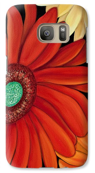 Galaxy Case featuring the painting Three Gerbera by Barbara McMahon