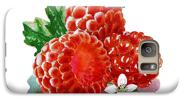 Galaxy Case featuring the painting Three Happy Raspberries by Irina Sztukowski