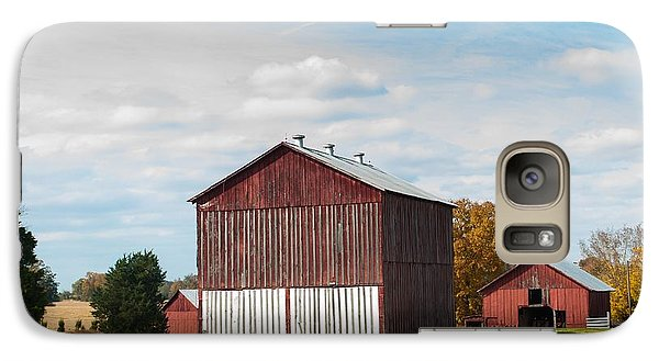 Galaxy Case featuring the photograph Three In One Barns by Debbie Green
