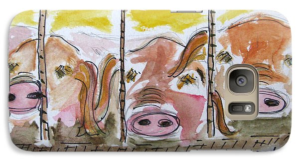 Galaxy Case featuring the painting Three Little Pigs by Patricia Januszkiewicz
