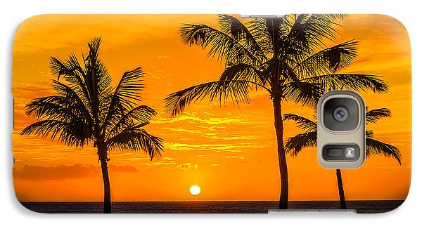 Galaxy Case featuring the photograph Three Palms Golden Sunset In Hawaii by Aloha Art
