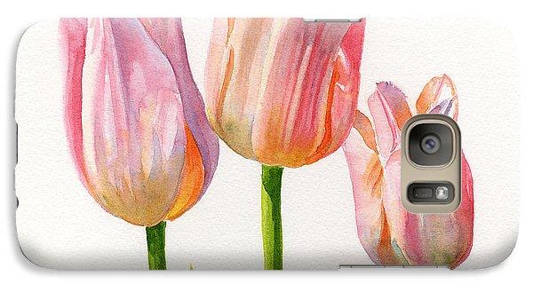 Three Peach Colored Tulips Square Design Galaxy S7 Case by Sharon Freeman