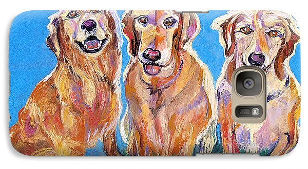 Galaxy Case featuring the pastel Three Playful Goldens by Julie Maas