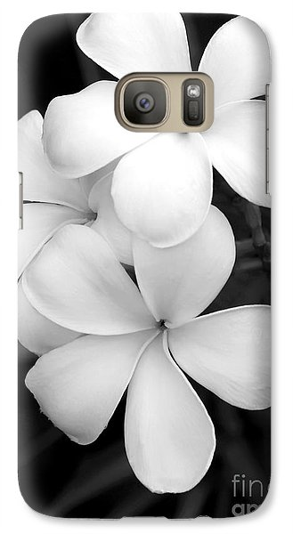 Orchid Galaxy S7 Case - Three Plumeria Flowers In Black And White by Sabrina L Ryan