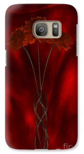 Galaxy Case featuring the digital art Three Red Roses In The Red Room by Johnny Hildingsson