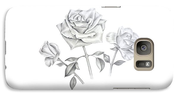 Galaxy Case featuring the drawing Three Roses by Elizabeth Lock