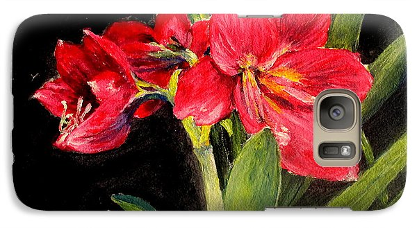 Galaxy Case featuring the painting Three Stalks Of Lilies Blooming by Jason Sentuf