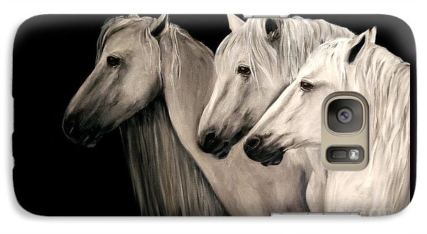 Galaxy Case featuring the painting Three White Horses by Nancy Bradley
