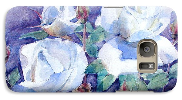 Galaxy Case featuring the painting White Roses With Red Buds On Blue Field by Greta Corens