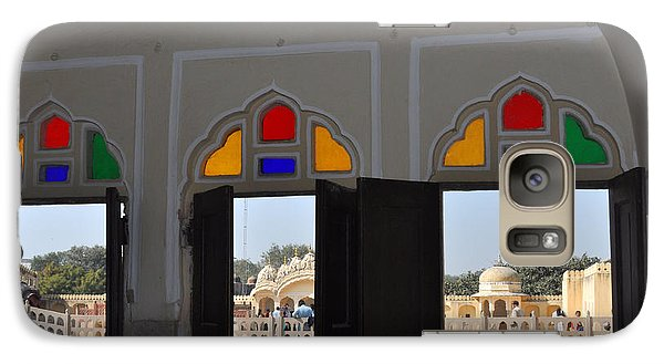 Galaxy Case featuring the photograph Three Windows At The Hawa Mahal Jaipur Rajashan India by Diane Lent