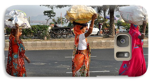 Galaxy Case featuring the photograph Three Women Carry Bundles Jaipur Rajasthan India by Diane Lent