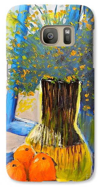 Galaxy Case featuring the painting Through The Window by Pamela  Meredith