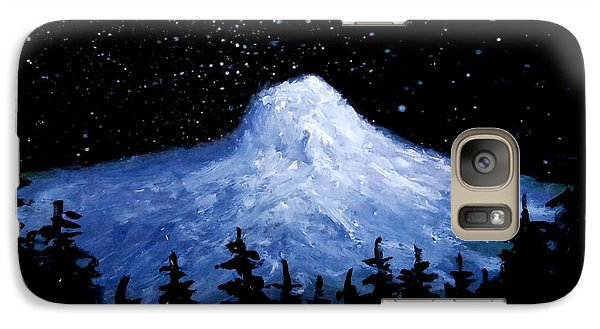 Galaxy Case featuring the painting Thumb Butte By Moonlight by Fred Wilson