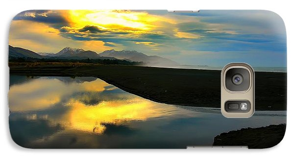 Galaxy Case featuring the photograph Tidal Pond Sunset New Zealand by Amanda Stadther