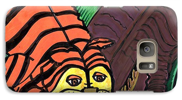 Galaxy Case featuring the drawing Tiger And Buffalo by Don Koester