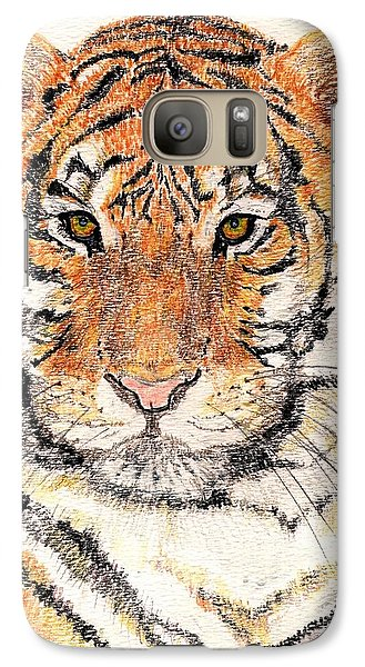 Galaxy Case featuring the drawing Tiger Bright by Stephanie Grant