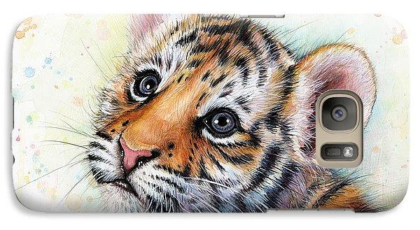 Tiger Galaxy S7 Case - Tiger Cub Watercolor Art by Olga Shvartsur