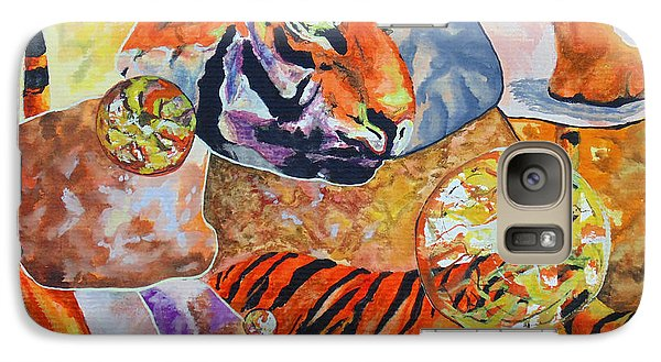 Galaxy Case featuring the painting Tiger Mosaic by Daniel Janda
